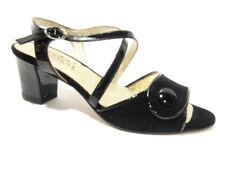 Comoda viola 1651 nero sandalo tacco basso donnasandal low heel woman made in it