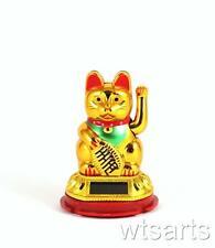 "Solar Maneki Meko Waving Beckoning Cat 3"" (Gold or White) Lucky Cat Japanese"
