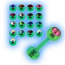 Titan mit Juwelen besetzt lippenscheibe 1.2mm 16g grün Qualität 23 UK wähle