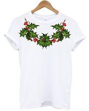Holly Neck T Shirt Christmas Festive Present Gift Party Mistletoe Snowman Print