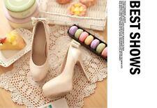 Décollte Zapatos de salón mujer perno talón 12.5 cm beige Plataforma 2.5 8894