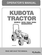 KUBOTA Tractor Operator's Manual B2320 B2620 B2920 B2320 NARROW - FREE SHIPPING!