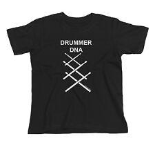 Kids Unisex Boys/Girls DRUMMER DNA Drum Drumming Kit Sticks Band Music T-Shirt