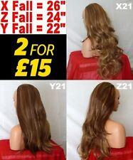 BROWN CARAMEL Long Curly Wavy Flick Half Wig Womens Fashion Hair Piece 3/4 wig
