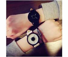 Men Women Creative Quartz Analog Leather Strap Unique Dial Wrist Watch