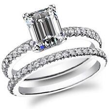 Natural Emerald Pave Diamond Bridal Set - GIA Certified