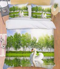 3D White Swan 28 Bed Pillowcases Quilt Duvet Cover Set Single Queen King Size AU