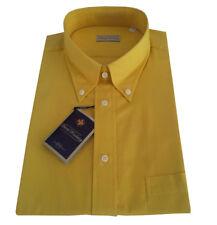 DAVID KOCKNEY camisa de hombre amarillo media manga con bolsillo 100% algodón
