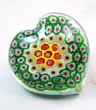 M Design Art Green & Yellow Millefiore Heart Paperweight PW-646