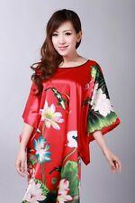 red Chinese women's silk/satin robe gown/sleepwear evening dress