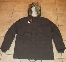 Womens BROWN PARKA COAT~size MEDIUM LARGE XL~NWT~Faux Fur Hood~Winter Jacket