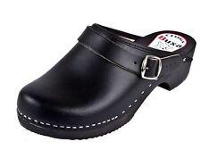 Wooden clogs  Black color   (Men's) w/slide back strap behind the hile