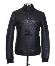 Mens 80s CLASSIC Black Retro Bomber Real Soft Lambskin Nappa Leather Jacket