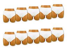 5 - 30 Stück Damen Slips Microfaser Weiß Unterwäsche Schlüpfer Pants M L XL XXL