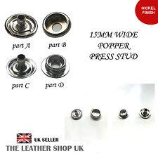 15 mm de anchura Níquel acabado Popper Press Stud de artesanía de cuero y ropa del Reino Unido Vendedor