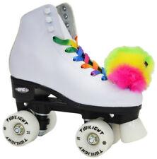 Epic Allure Quad Roller Skates w/ Rainbow Twilight Led Light Up Wheels & PomPoms