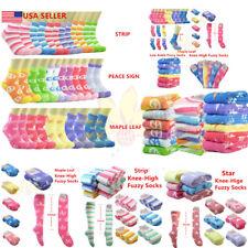 3~12pairs Women Girl Winter Socks Cozy Fuzzy Slipper Fleece Ankle/Knee High Lot