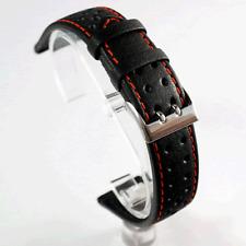 Di Modell Rallye Black Leather Watch Strap: Red Stitch: 18, 19, 20 or 22mm (E0)