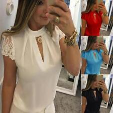 Womens Chiffon Plus Size Short Sleeve Splice Lace Crop Top Blouse Office Shirts