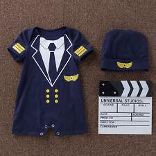 Newborn Baby Boy Pilot Romper Jumpsuit Bodysuit & Hat Toddler Outfit Set Clothes