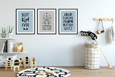 Set of 3 Boys Bedroom Prints / Little Man Cave / Best Kid Ever / Alphabet, Blue