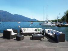 Designer Rattan Gartenmöbel Rattanlounge Sitzgruppe schwarz weiß Lounge Terrasse