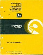 "John Deere Thatchers for 21"" Walk-Behind Rotary Mowers OPERATORS MANUAL (H49)"