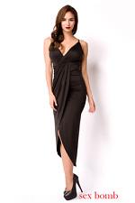 Sexy ABITO LUNGO NERO taglia S,M,L,XL (40,42,44,46) scollato vestito GLAMOUR