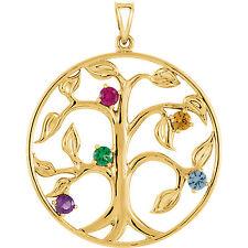 Family Tree Pendant in 10K or 14K Gold 1-5 Birthtones, Mothers Pendant Jewelry