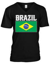 Brazil Flag Soccer Futbol República Federativa do Brasil Rio Mens V-neck T-shirt