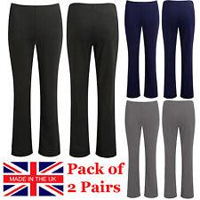 Paquete De 2 Mujeres Pantalones Damas Bootcut Stretch Bootleg finamente Acanalado Pantalones De Trabajo