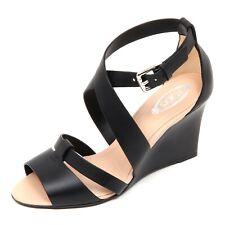 D1856 sandalo donna TOD'S scarpa zeppa nero T85 shoe woman