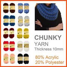 5 x SOFT CHUNKY WOOL KNITTING YARN Bulky Knit Roving Crocheting Sweater Ply BULK