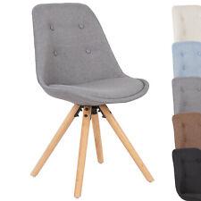 Esszimmerstuhl 1 x Küchenstuhl Stuhl mit Rückenlehne Leinen Massivholz #729