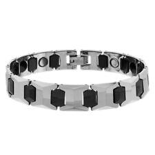Men Women 12MM Tungsten Carbide 2Tone Faceted Cushion Bar Link Magnetic Bracelet