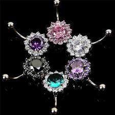 Crystal Flowers Body Piercing Women JeweCg$ Stainless Steel Bar Belly Navel Ring