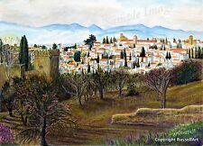 Granada vista grandes España Español Impresión de Arte de Pintura Acuarela-russellart