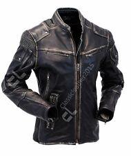 Mens Vintage Biker Style Motorcycle Cafe Racer Distressed Leather Jacket