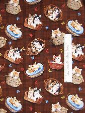 FABRIC Cranston VIP PUPPIES N' KITTENS Kitty Cat Basket Butterfly Brown YARD