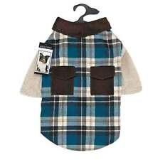 Blue Plaid Flannel Shacket Dog Coat Rugged Shirt Jacket Combo Warm Plush Lining