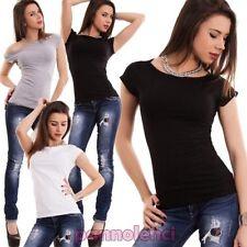 Suéter mujer camiseta elástica manga corta pequeño bote nueva T5250