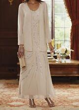 Mother of Bride Groom Women's Wedding Beige Gown&Jacket formal plus L XL1X 2X 3X