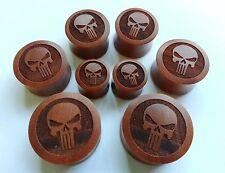 1 Pair ORGANIC Handmade Alien Skull Head Saba Wood Saddle Ear Plugs Taper Gauges