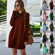 Fashion Women O Neck Long Sleeve Pocket Sweatshirt Long Blouse Shirt Jumper Tops