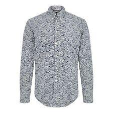 Merc London 1517109002 patcham Azul Marino De Manga Larga Camiseta Estampado Cachemir Tallas M-2XL
