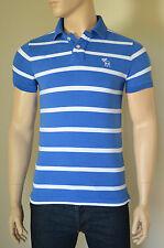Nueva Abercrombie & Fitch gigante de montaña Polo Camisa Azul a Rayas M RRP £ 68