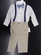 Infant & Boys Nautica $50 4pc White w/ Sailboats Suit w/ Suspenders Size 12m - 7
