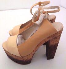 "NIB Women's Bianco Nougat Leather Wooden Platform 5.5"" Heels Sizes (4-9) (35-40)"