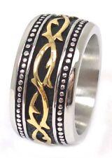 US Seller Men's Gold Silver Stainless Steel Biker Ring Size 7-13 SR59