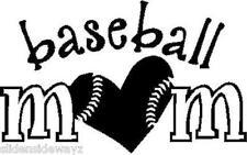 Baseball Mom w/heart #2 vinyl decal/sticker car truck window sports bat pitcher